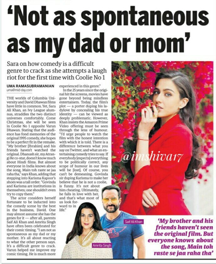 'Not as spontaneous as  my dad or mom'  #SaraAliKhan on how comedy is a difficult genre to crack as she attempts a laugh riot  for the first time in #CoolieNo1   #CoolieNo1OnPrime @Saratimes95