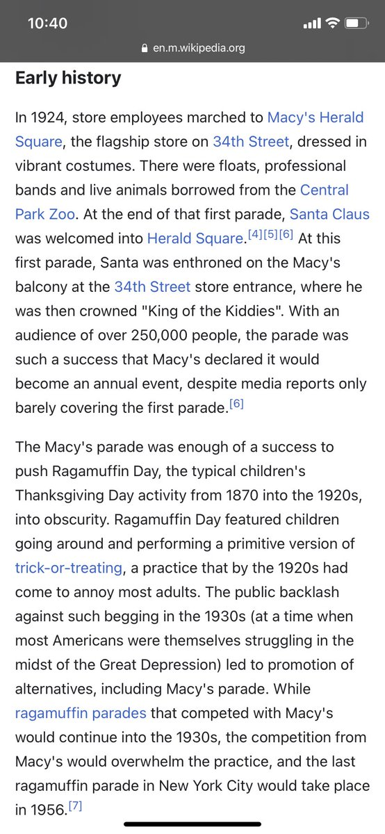 Please read this hilarious history behind the #MacysThanksgivingParade. It was pretty much just a ploy by parents to stop kids from annoying them for money/treats during the Depression 😂