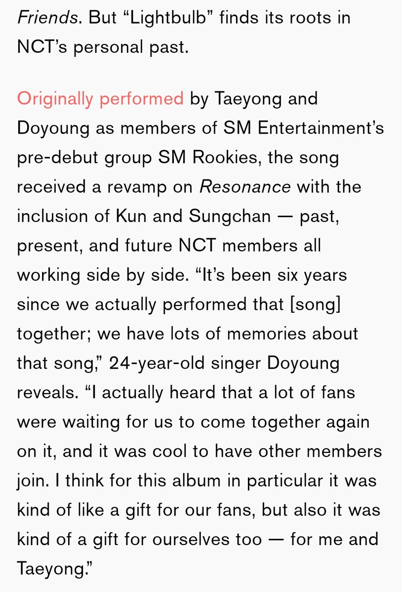 """NCT On 'Resonance': How 23 Voices Became One mtv.com/news/3172381/n… Doyoung, on 'Light Bulb': """"It's been six years since we actually performed that [song] together; we have lots of memories about that song."""" #DOYOUNG #도영"""