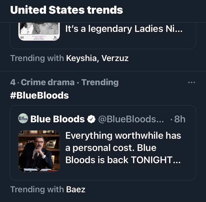 Still trending and the show has been over for about an hour #BlueBloods