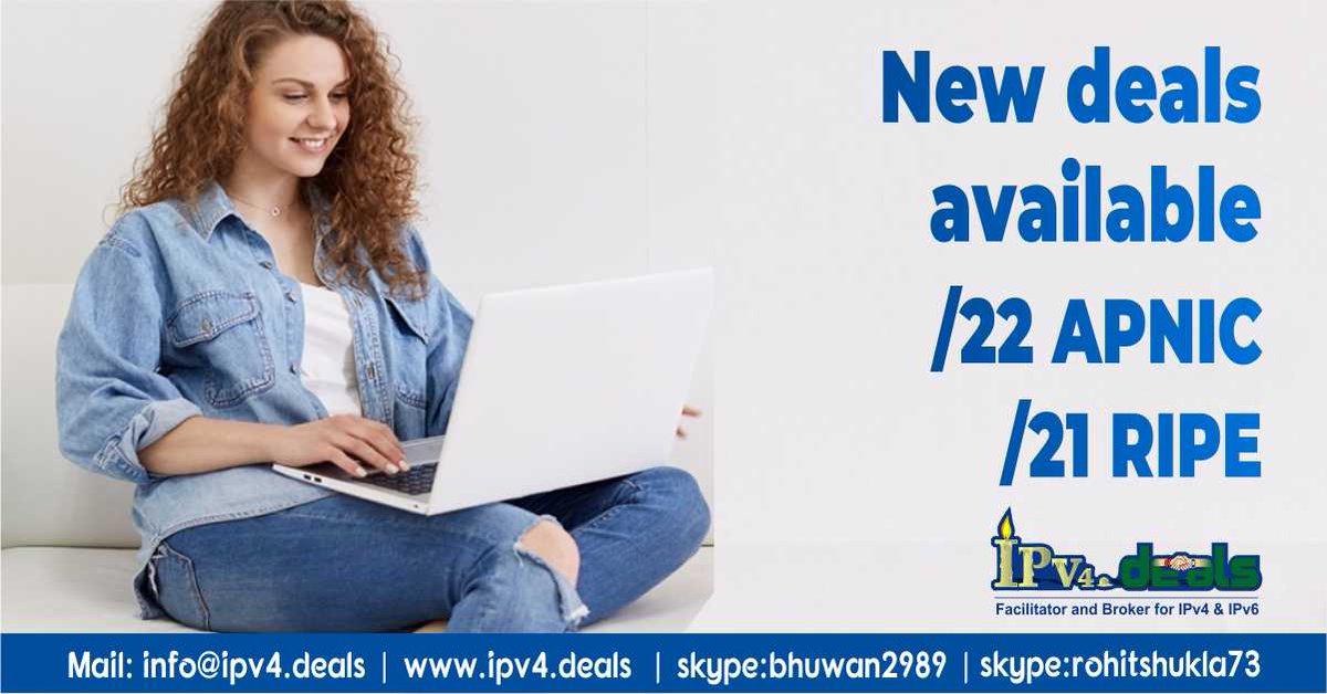 New Deals Available, Hurry up to grab this opportunity.    #IPv4 #IPaddresses #BlueBloods #NationalCookieDay #okpreps #pmgiveaway #SaturdayMorning #IVD2020 #DMKwithFarmers #InternationalVolunteerDay #SaturdayMotivation