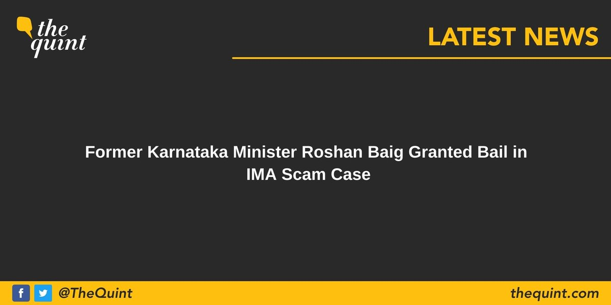Former Karnataka minister #RoshanBaig was granted bail by a special Central Bureau of Investigation court on Saturday, 5 December.   Follow for more updates: