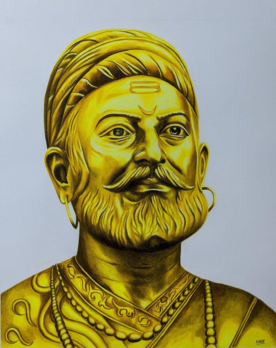 """ If war was an art then he was a brilliant artist who mastered guerilla warfare""  Sketch of Hindu hriday samrat, Chhatrapathi Shivaji Maharaj done in golden tone. Used copic markers and Prismacolour pencil on Strathmore paper. Jai Bhavani Jai Shivaji.  #art #ArtistOnTwitter https://t.co/eL5AJlFYPL"