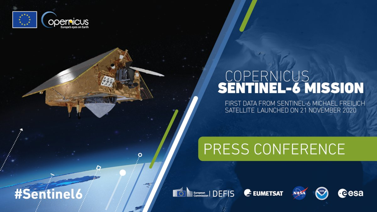 @CopernicusEU #Sentinel6 Michael Freilich is in orbit 🚀  Next step:➡️during the #EUSpaceWeek its 1⃣st data will be presented to the media & to the world   📢 Join us for the press conference 📢  📅: 10 December 2020 ⏰: 9:00-10:00 CET  Register now👉
