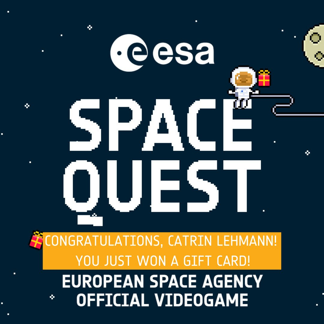 Congratulations to our winner, Catrin Lehmann who won our first ESA Space Quest drawing for an eGift Card! Keep playing for a chance to win! Next winner will be announced later this month. 🎁🚀
