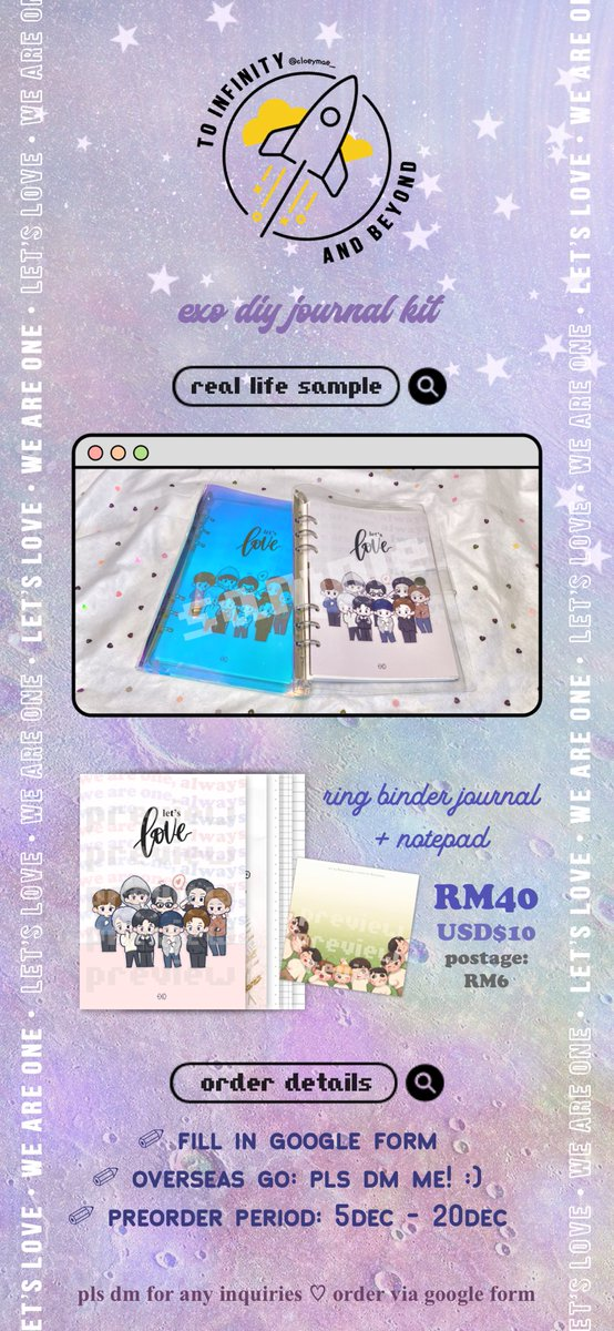 [ help rt / msia ]  𝙩𝙤 𝙞𝙣𝙛𝙞𝙣𝙞𝙩𝙮 𝙖𝙣𝙙 𝙗𝙚𝙮𝙤𝙣𝙙 🚀 #TIABkit — exo diy journal kit by @cloeymae_  ⚬ RM40/kit ⚬ postage: RM6 ⚬ ring binder journal + notepad ⚬ need 35 orders to proceed ⚬ dm for any inquiries ♡ ⚬ deadline: 20/12/2020  🔗: