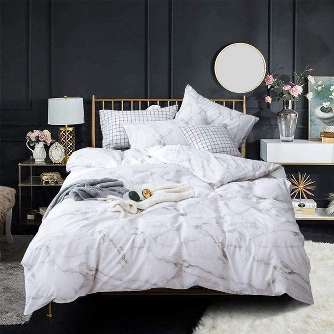 White Marble Bedding Duvet Cover Set- $29.25!  Save 50% with code; 50I9G7JS  2