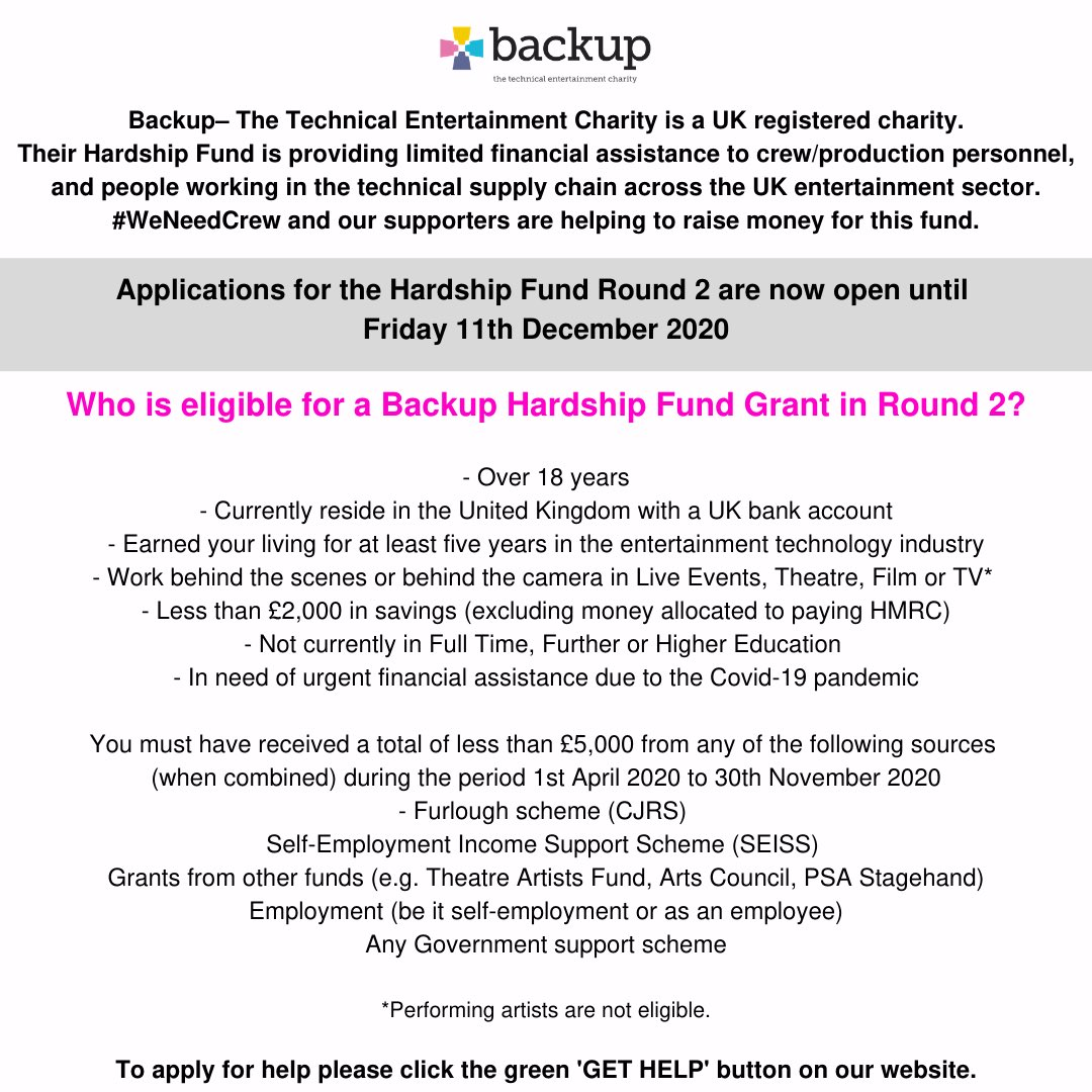 We Need Crew's fundraising goes to the charity Backup Tech. Thank you to everyone for your kind donations so far. It really makes a difference 💚  #weneedcrew #wemakeevents  @WeMakeEventsoff