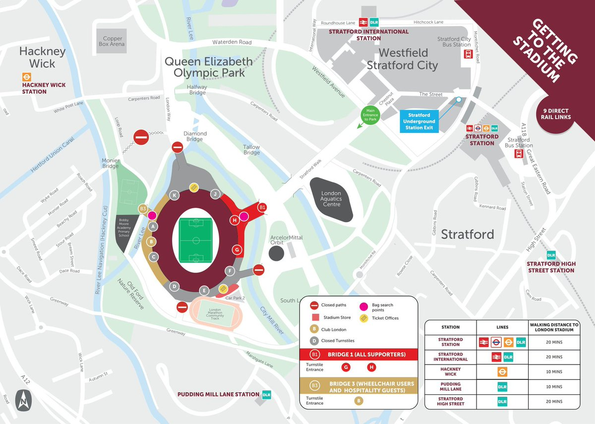 🏟️ | Entry bridges 1 and 3 to the stadium island will be open from 14:45.   Club London (turnstile B) will open at 15:00.  Turnstiles G and H will open at 16:00.   We would advise supporters to arrive at the stadium at least half an hour before kick-off.