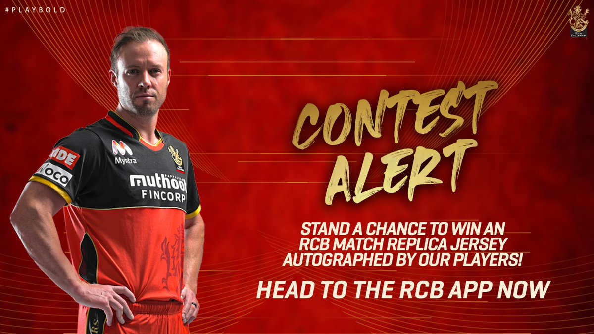 12th Man Army, here's your chance to grab another RCB match replica jersey signed by our players.  Head to the RCB Official App now and stand a chance to win!    #PlayBold #WeAreChallengers #WinAJersey #Dream11IPL