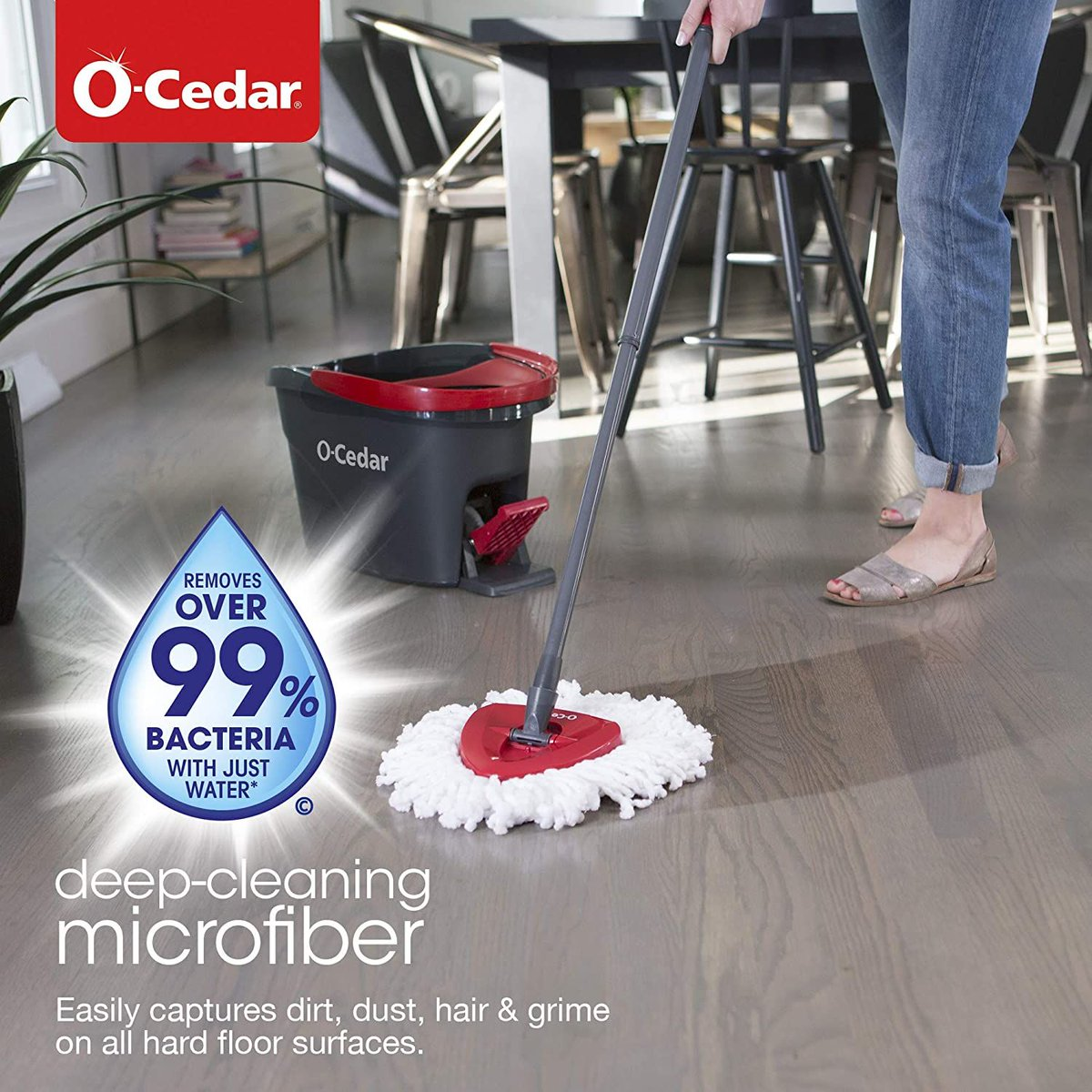 O-Cedar EasyWring Microfiber Spin Mop, Bucket Floor Cleaning System  Get it for $29.98!  2