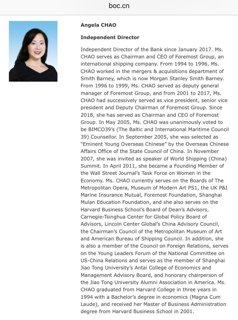 @PhilipRucker @bradheath I will acknowledge that Mitch McConnell's sister-in-law is on the board of directors of the Bank of China.  Her bio from their website: