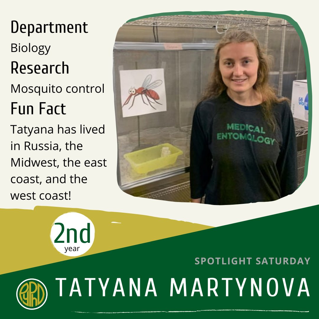 """As a 2nd year, Tatyana says, """"I was born in Moscow, Russia and moved to the United States at age 5. In a Russian forest when I was 3, however, I was bit by a tick. Now I study Culex mosquitoes. Advice to young scientists: don't procrastinate!"""" . . . #pyphd #scicomm #WomenInSTEM"""