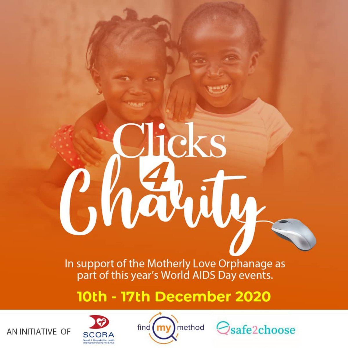 We are ending the year on a warm note by giving back to our society. SCORA-FGMSA has teamed up with Women First Digital to bring to you our latest innovation : CLICKS 4 CHARITY❤️👨🏾💻  This is being organized in support of the  Motherly Love Orphanage, located in Kwabenya, Accra.