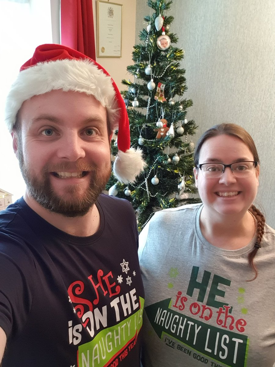 Seasons Greetings from the 1st day of Christmas at House Graywood. We're just about to have a mulled wine too. Our matching tshirts say the other is on the Naughty List, truthfully only Kirsty is as I am on the Nice List. #christmas #naughtylist #nicelist #festive