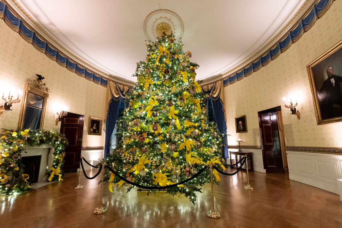 This year's #WHChristmas tree illuminates the Blue Room, featuring ornaments designed by students. #BeBest encourages youth to BE BEST in their individual paths & the splendor of America shines brightly through the handmade ornaments & the unique perspective of American children.