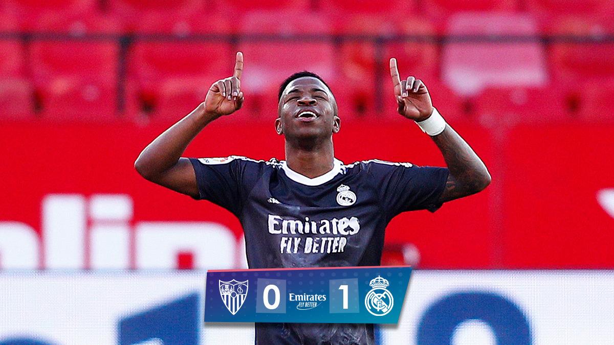 Penyerang Real Madrid, Vinicius Junior berhasil membawa timnya mencuri poin di markas Sevilla, pada Liga Spanyol, Sabtu (05/12/2020)