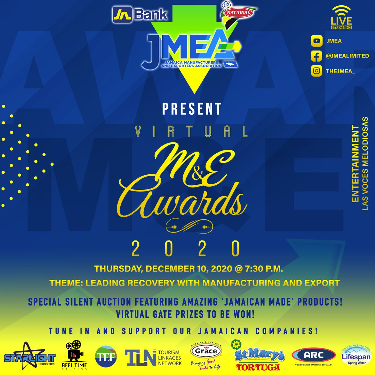 Tune in to the JMEA M&E Awards 2020 on Thursday, December 10, 2020 @ 7:30 p.m. via live stream on our IG, FB and YouTube platforms.  It's all about celebrating our #manufacturers and #exporters  See you on Thursday! https://t.co/KLHTB6mxFk