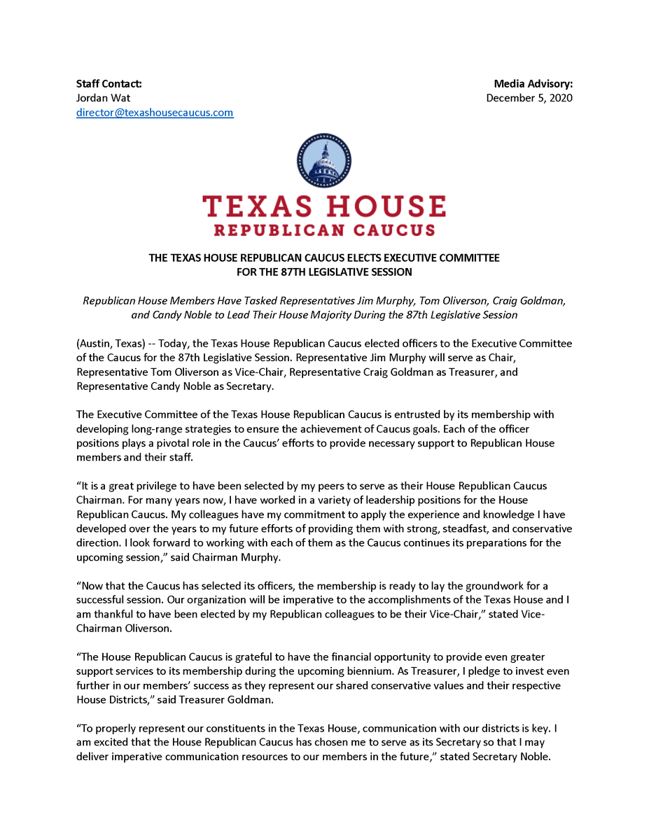 It is a tremendous honor to be asked by my colleagues to serve. #txlege