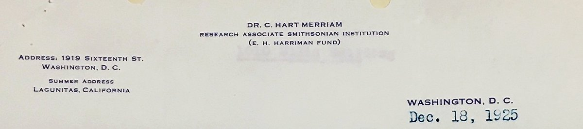 Clinton Hart Merriam born #OTD, 1855. This 1925 letterhead shows his Marin Cty address. A naturalist turned amateur ethnographer, his fieldnotes include Indigenous placenames & terms for plants, animals, basketry forms, etc. Also an early advocate of CIJA & CA Indian land claims.