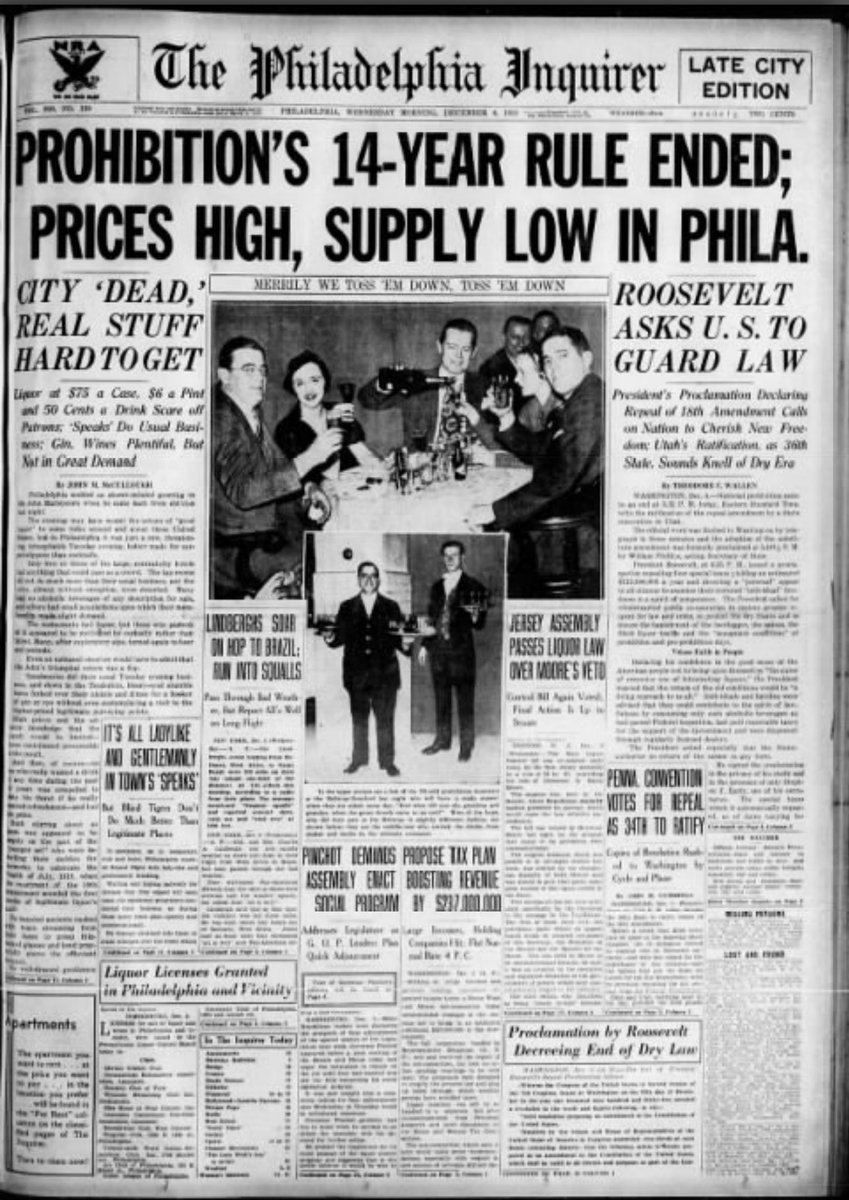#OTD in 1933, Prohibition officially came to an end. The #Philadelphia #Inquirer (@PhillyInquirer)