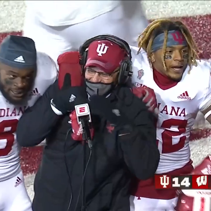 Indiana players had to hype up their coach up after upsetting No. 16 Wisconsin ❤️