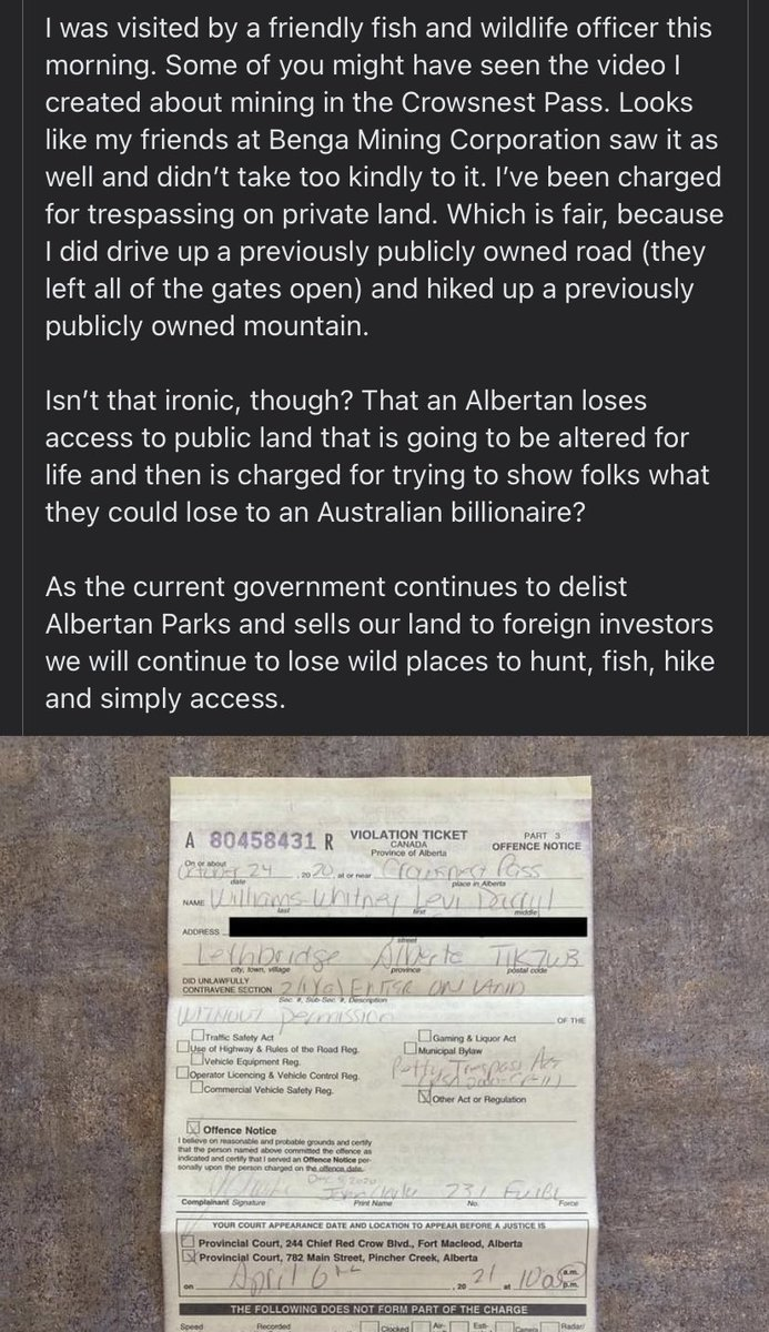 Local hunter films video on formerly public land slated to become a coal mine. Australian mining company doesn't like the video, calls their pals in the Gov of Alberta, fish cop shows up on his door with a $600 ticket. #AbLeg #DefendABParks