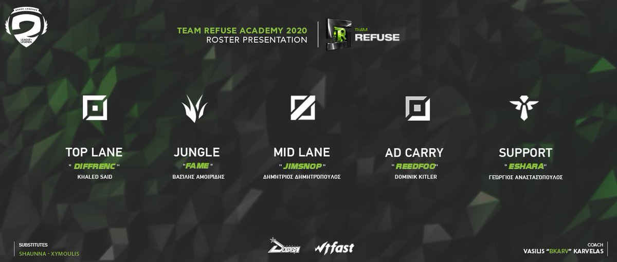 Our updated roster for the playoffs of the @GRLegends Academy League! Toplane - @Diffrenc2 Jungle - @FameGRE  Midlane - @jimsnop  Botlane - @reedfoo_  Support - @EsharaGRE  Sub - @xymoulis - @Shaunna_LoL  Coach - @BKarv_LoL    #Refuse2Lose @Dombai_Europe | #WTFast