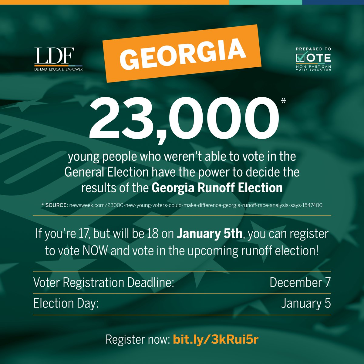 Georgia residents! 🍑 If you're 17 years old but will be 18 by January 5, you can vote in the upcoming Senate runoff elections. Young people will decide the makeup of the Senate, so register to vote by December 7 at https://t.co/mTTRaOPpPd. @NAACP_LDF #PreparedToVote https://t.co/0L6ADI6cQo