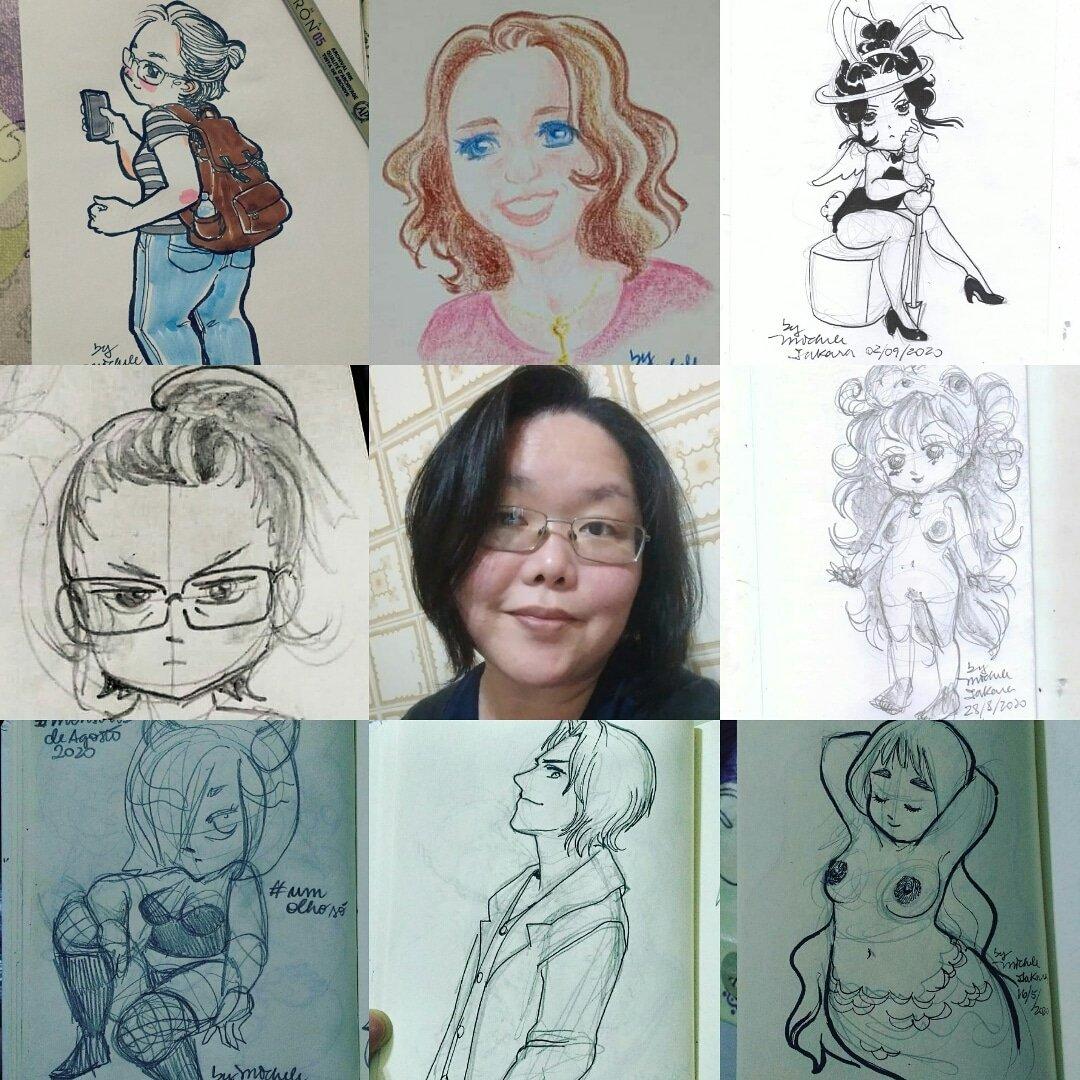 Meu #artvsartist2020 💜 Teve menos ilustrinhas este ano. Mas ano q vem melhora. Acho xD #sketch #drawing #meme