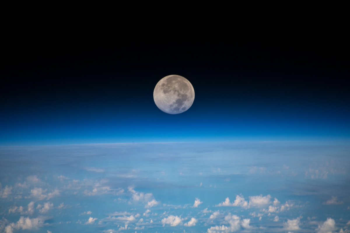 The full Moon occurs once a month and is a spectacular sight viewed from 250 miles above Earth.