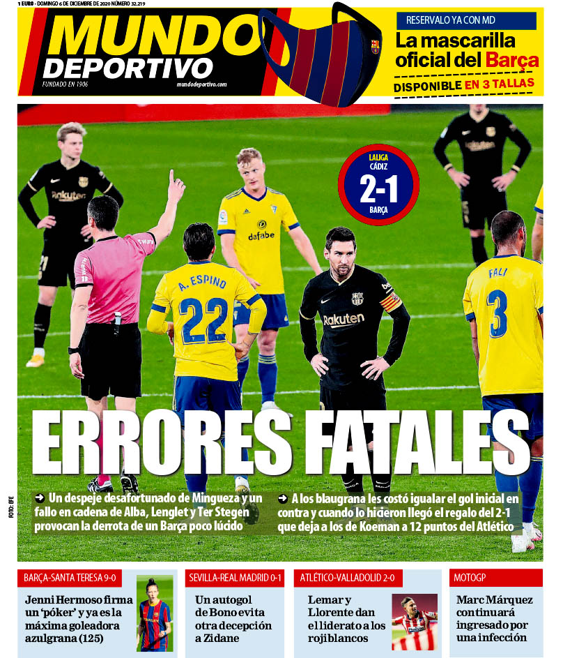 Footballespana On Twitter Sunday S Front Page Headlines From Marca Diario Sport And Mundo Deportivo In English Https T Co R44vi05lek