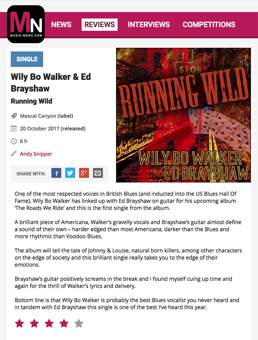 'What the Papers Say…' Another great review from Music News Online Magazine for my single 'Running Wild' w/ E D Brayshaw taken from the double CD release 'The Roads We Ride'  https://t.co/3hv51b0rv1  #Americana #rock https://t.co/MV6Mai2WXr