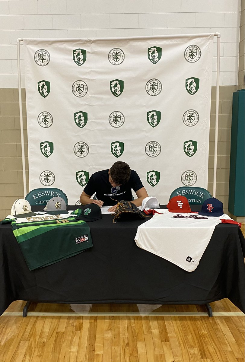 I am extremely blessed to announce that I have signed with Ave Maria University to further my academic and athletic career! Very grateful for this opportunity! @ItsDirtyMike_23 @GyreneBaseball  @KeswickBB @tmpaterror