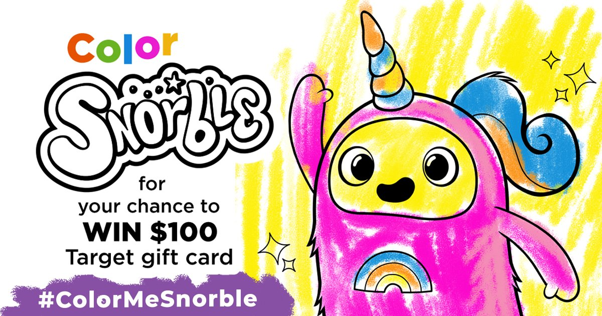 Our giveaway ends on Monday, so there's still time to enter. Simply visit our website for a printable Snorble® that your child can color, and then submit it for a chance to win a $100 Target gift card. Details here:  #snorble #colormesnorble #family
