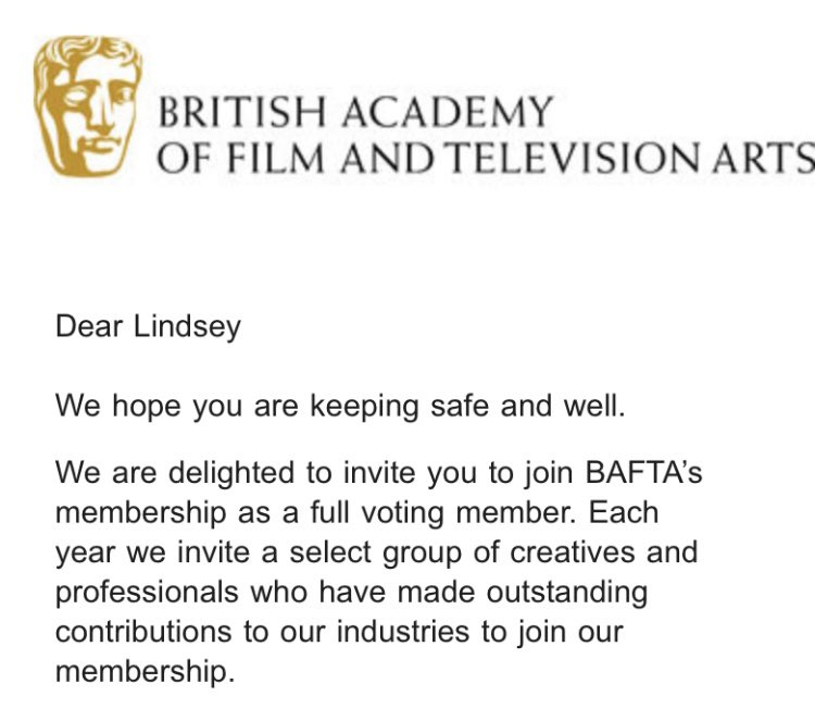 Thank you @BAFTA for the invitation to become a full voting member — I'm excited to contribute 🎥❤️🏳️‍🌈🧏🏻‍♀️ 🎞🏆  #BAFTA #Film #Cinema #RepresentationMatters