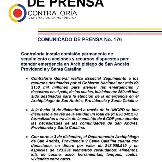 #OleMano 🙋🏻♀️ #ComunicadoDePrensa 🖨️  #SanAndrésYProvidencia 🏝  #olemano Este es el Comunicado de prensa de la #ContraloríaGeneral sobre el seguimiento 🕵️♂️ que realizará a los recursos dispuestos por parte del #GobiernoNacional.   #olemano #TeleislasNews #huracanlota