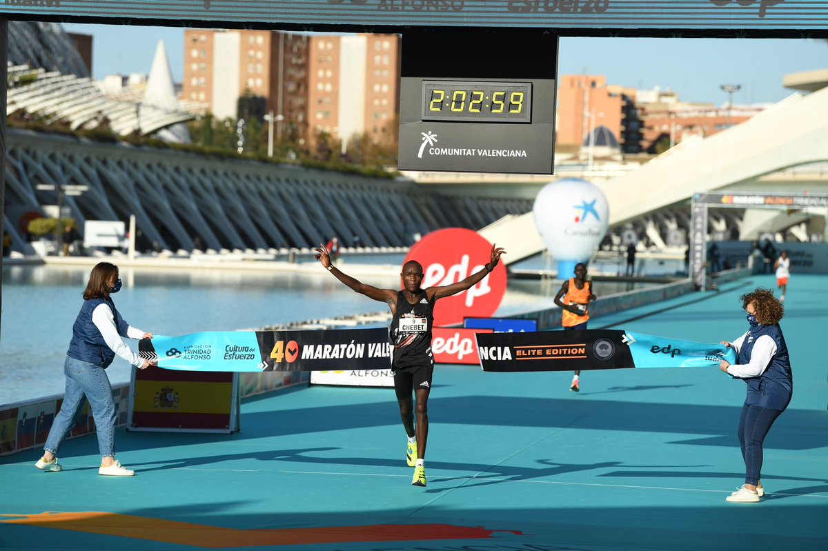 """""""Progress doesn't happen in a straight line, it's about momentum, commitment, and the belief that you will be ready."""" - Evans Chebet takes home the 🥇 in Valencia.  ⏱ [2:03:00] 👟: adizero adios Pro"""