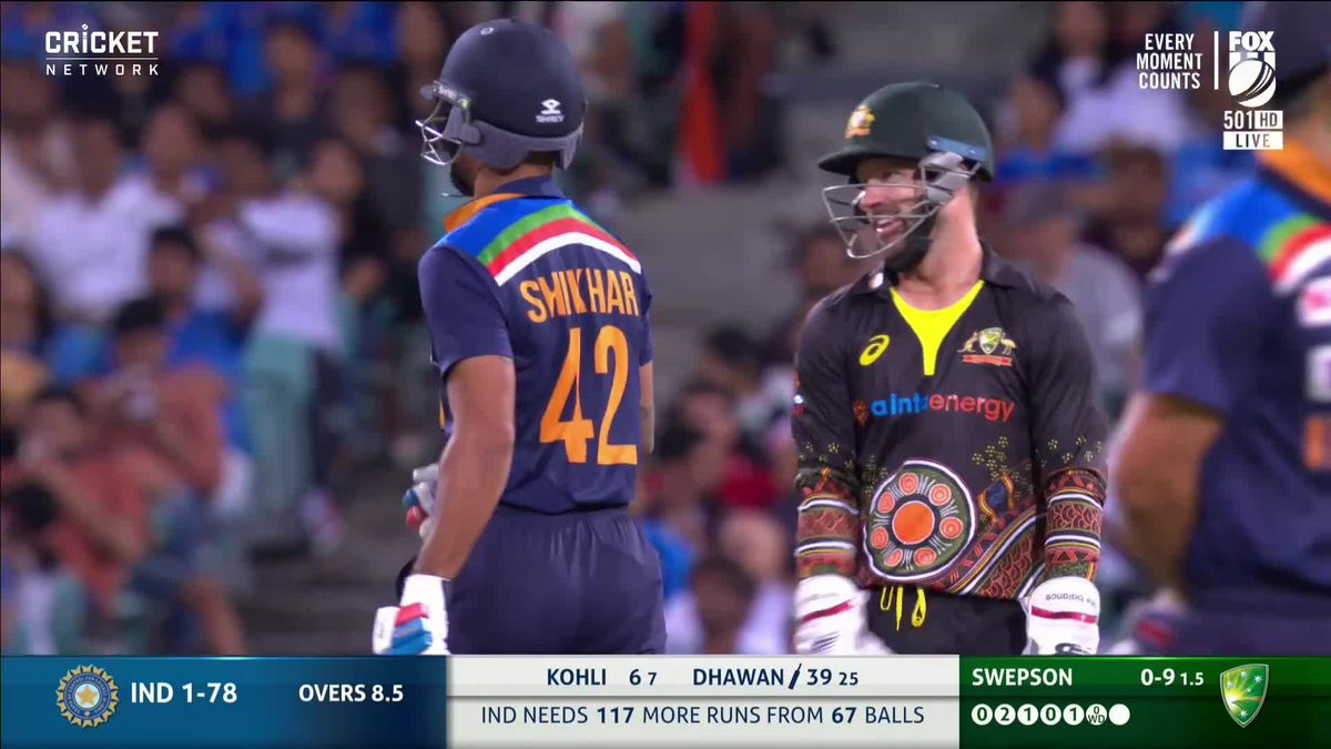 """Replying to @cricketcomau: """"Not Dhoni, not quick enough like Dhoni!"""" 😂  Live #AUSvIND:"""