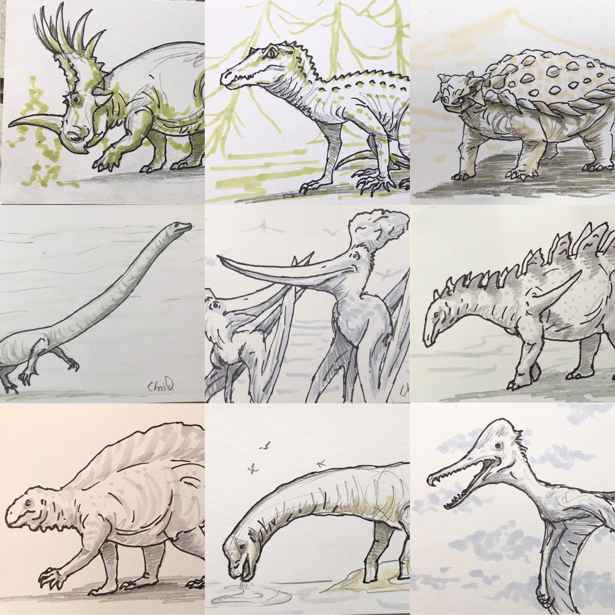 I'm selling my original #drawdinovember entries for $20 each again this year. Good opportunity to own a piece of original art for a relatively cheap price. Each are 5x3inches. DM me if interested. #supportoriginalpaleoart #paleoart #art #dinosaurs