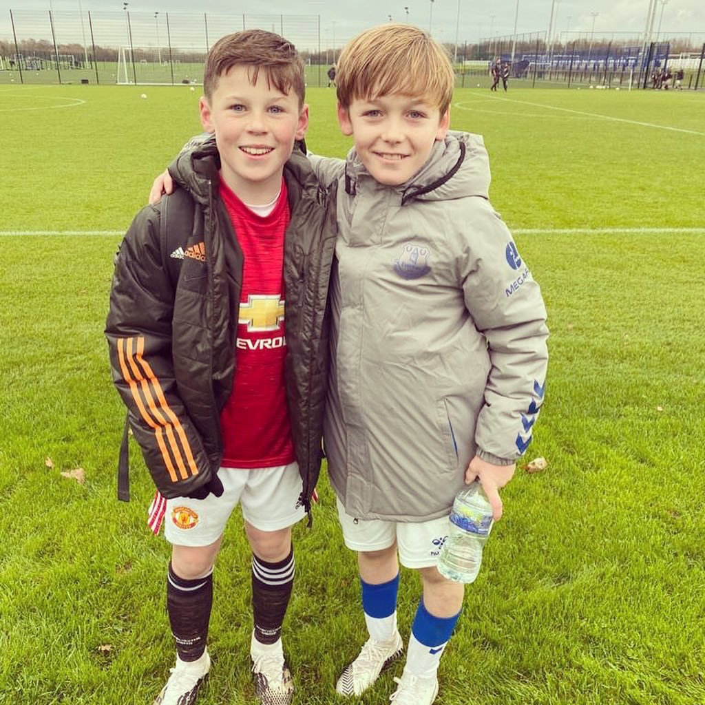 Rooney Cousins playing against each other today Everton U11 academy v Man Utd U11 academy. Well done Jaiden and Kai 👏🏻💙❤️