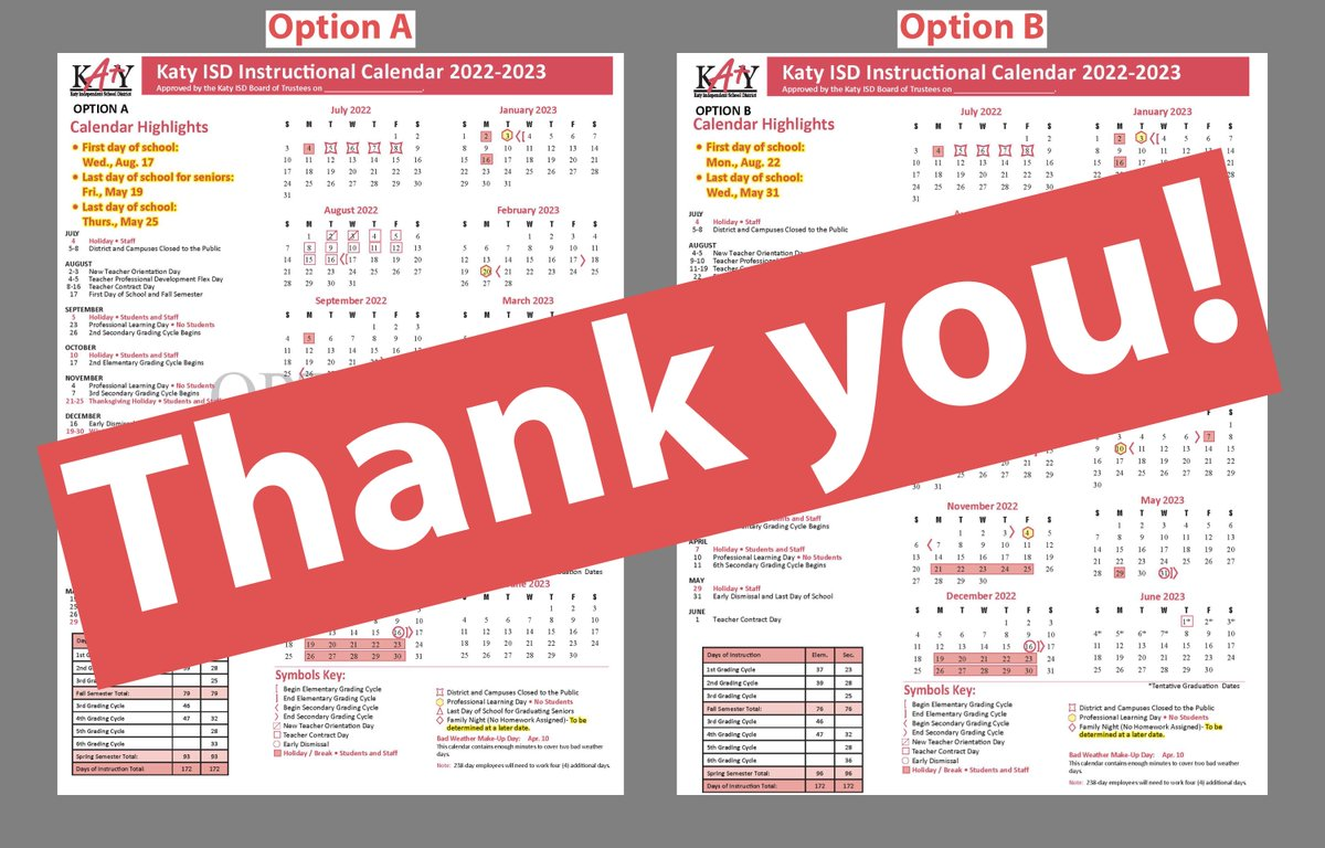 Katy Isd 2022 Calendar.Katy Isd On Twitter Thank You To Everyone Who Responded To The 2022 2023 Instructional Calendar Survey The Survey Results Will Be Presented At The Next Regular Board Meeting Katyisd Https T Co Rfwuwfs78t