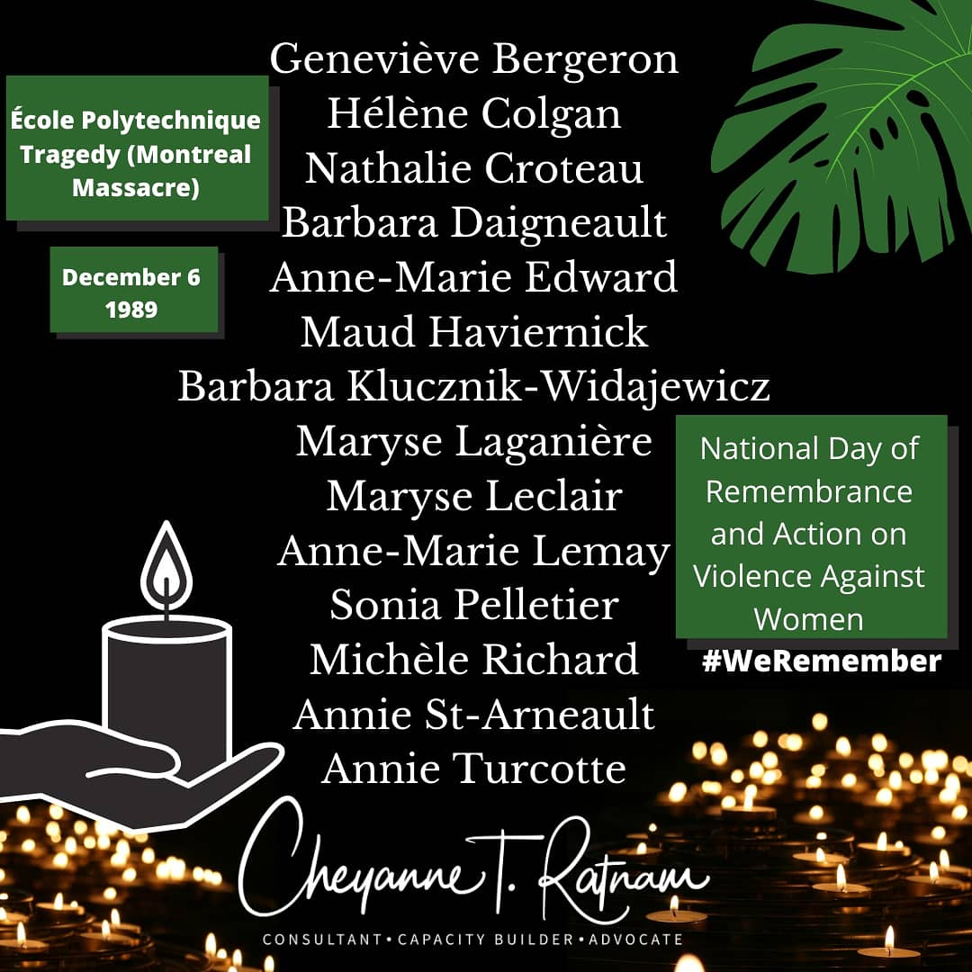 34 yrs Ago. #SayTheirNames.  Many are posting their names, but what happened? Context is important.     #WeRemember. 29 yrs ago, in 1991, Canada declared #December6 as #NationalDayofRemembrance.   #MontrealMassacre  #16DaysofActivism  #nationaldayofmourning #Women #Cdnpoli
