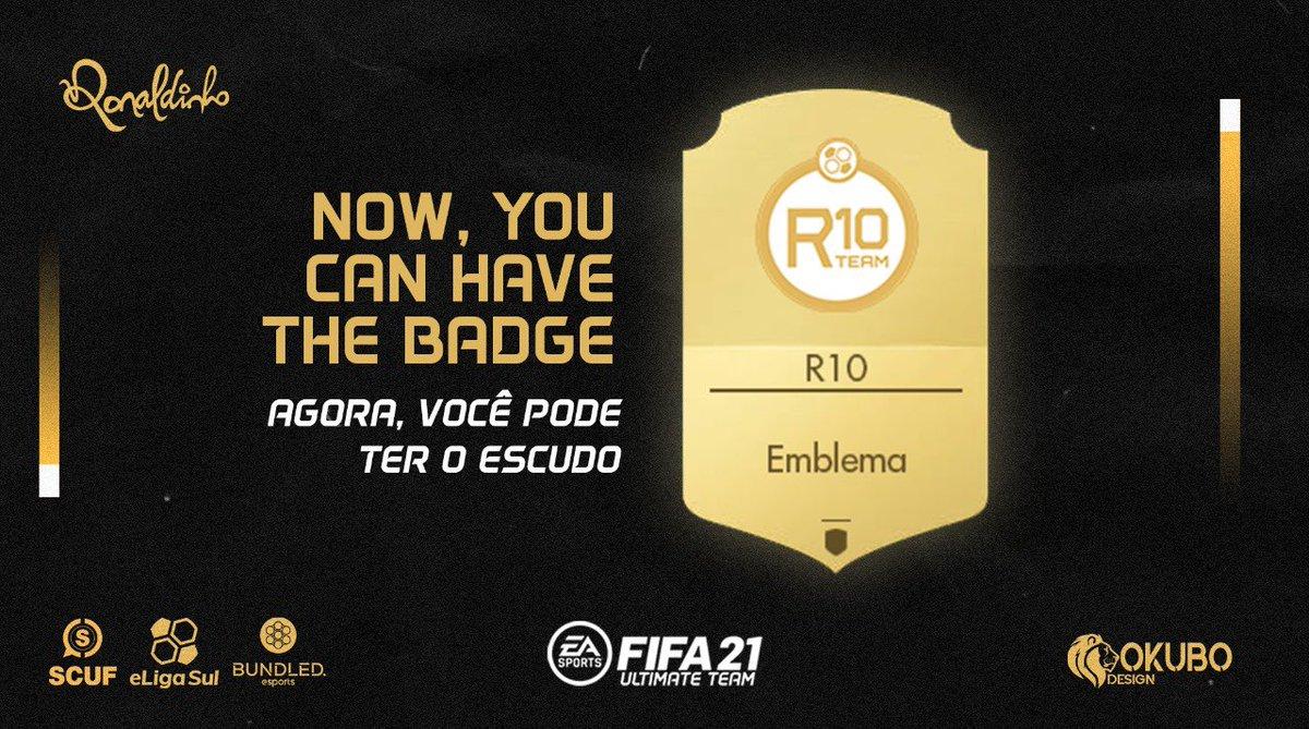 Se liga galera, o escudo da @R10team1 tá liberado no FIFA21 através do desafio semanal Bronze.  Basta realizar uma transferência de compra rápida, e ja garante o escudo da equipe que fez o TOP3 do #FGS21 Xbox da América do Sul   E jogando bonito como o  @10Ronaldinho 🤙🏼
