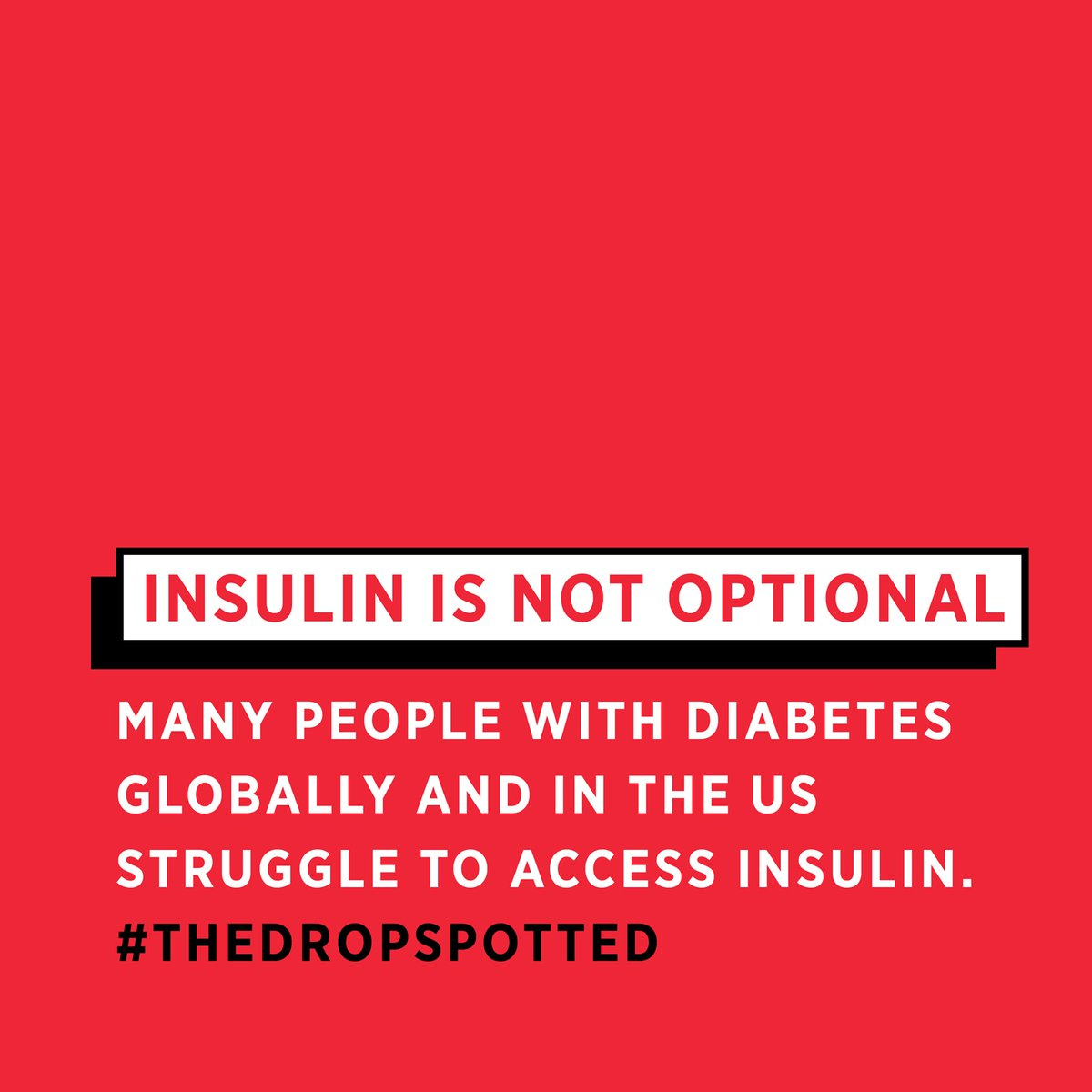 A person is diagnosed with diabetes when the body is no longer able to produce insulin (in #T1D caused by an autoimmune attack) a hormone needed to SURVIVE.  If you're struggling to access insulin, find options at  #GetInsulin #TheDropSpotted