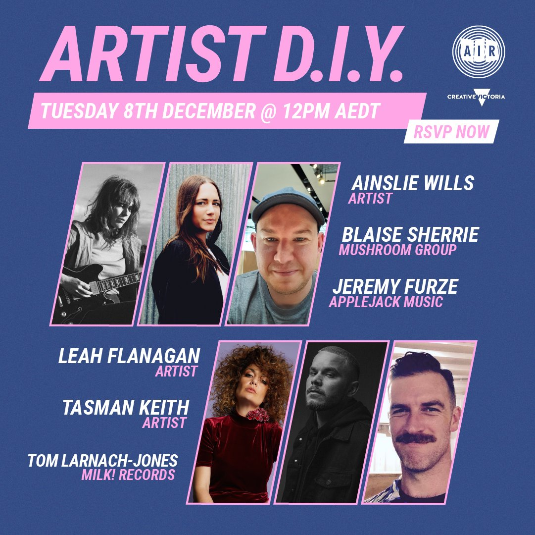 Don't forget, tomorrow at 12 pm AIR is hosting our last D.I.Y session of 2020 featuring a panel of superstars - @ainsliewills, @TasmanKeith, @Leah_Flanagan, Jeremy Furze, Blaise Sherrie and Tom Larnach-Jones  Still time to register here: