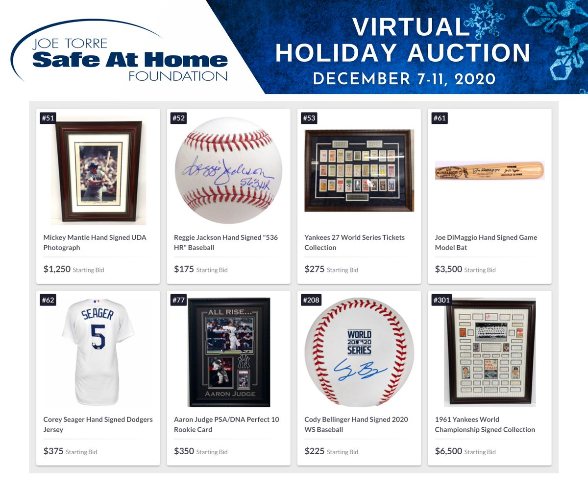 Today is the start of our virtual #holiday #auction. All week you can bid on #sports memorabilia, experiences, & more for the holidays – with proceeds supporting our work, which provides healing to kids exposed to violence and abuse. Visit joetorre.org/auction to make a bid!