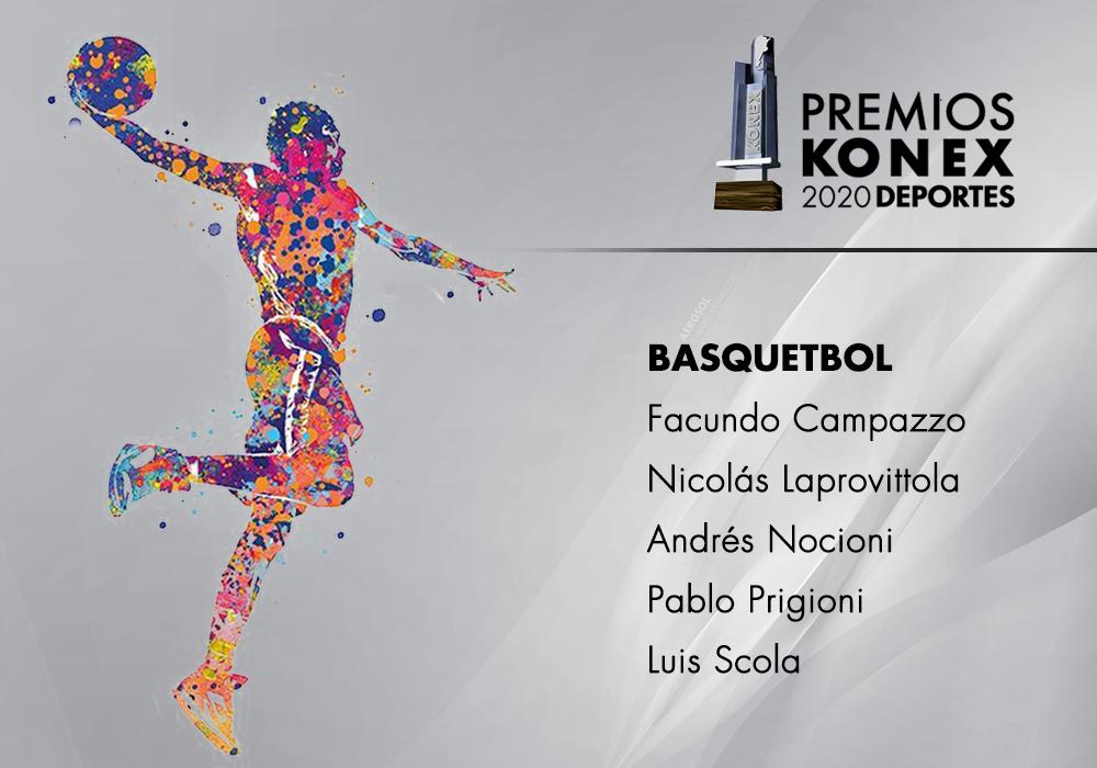Los ganadores del #PremioKonex a los mejores basquetbolistas de la última década son:  🔹@facucampazzo 🔹@nicolapro7 🔹@SoyElChapu 🔹@PPrigioni9 🔹@LScola4  Listado completo de premiados 👇   #basquet #basketball #Basquetbol #konex