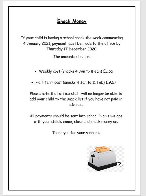 If your child would like school snack when we return to school after the Christmas break see below: https://t.co/RJZNWquuY0