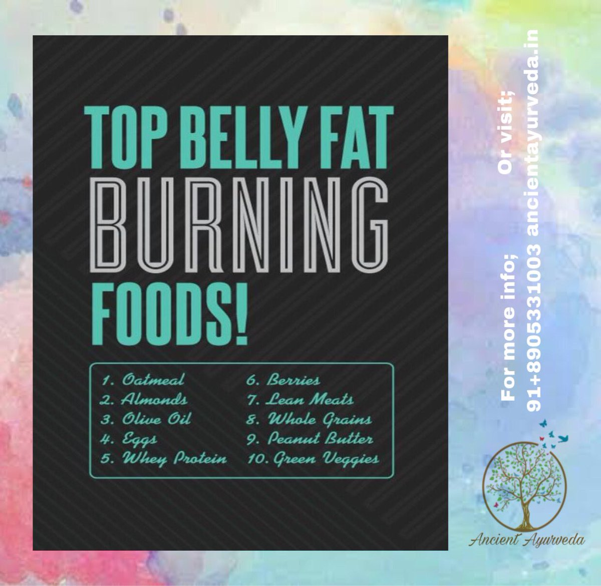 Top Belly Fat Burning Foods! For more info;91+8905331003 Or visit;  . . . #Ayurveda #ayurvedaday #naturalmedicine #weightlossjourney #goodfood #goodlifegoodvibe #behealthy #keepsupporting #StaySafe #stayfit #like4likes #follow4follow #dailypost #dailygoals